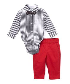 Take a look at this IZOD Black Gingham Button-Up Bodysuit Set - Infant today!