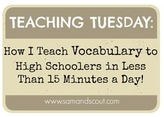 """It's been a while since I've done a """"Teaching Tuesday"""" post, but I've gotten some emails lately asking how I teach vocabulary, so I thought I'd share a little bi…"""