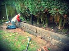 railway sleeper garden walls - Google Search