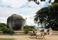 One of the Mingun Lions on the bank of Ayeyarwaddy near Mandalay, Burma