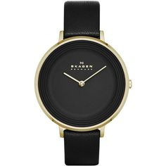 Skagen Women's Ditte Black Leather Strap Watch 30mm SKW2286 - A Macy's... ($145) ❤ liked on Polyvore featuring jewelry, watches, accessories, fillers, relojes, skagen wrist watch, thin watches, skagen, thin wrist watch and skagen jewelry