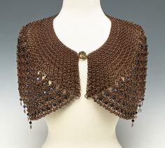 BRONZE CHAINMAILE SHAWL... with blue gold stone, sodalite, dumortierite and blue labradorite beads.