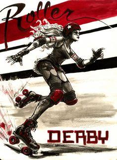 41 ideas for sport illustration art roller derby Illustrations, Illustration Art, Roller Derby Girls, Derby Skates, Track Roller, Skate Girl, Derby Day, Derby Time, Sport Fitness