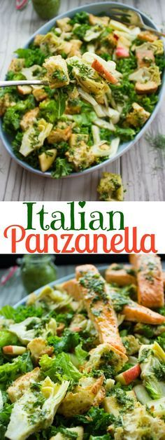 Italian Panzanella Salad With Basil Dressing. An Italian classic and favorite salad from Tuscany. Perfectly Vegan as it is or with broiled salmon strips--a recipe for potlucks, picnics, bbq and everyday dinner you CAN'T MISS! http://www.twopurplefigs.com