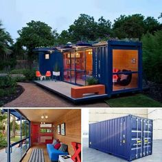 Guest house made from recycled shipping container.