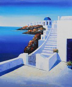 Mediterranean Scenes-Start the Journey scenery oil paintings on canvas, relist…