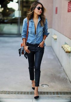 The narrow pants and the feminine heels contrast nicely with the casual and masculine shirt. This contrast shows style and makes the outfit work even for a casual office setting.