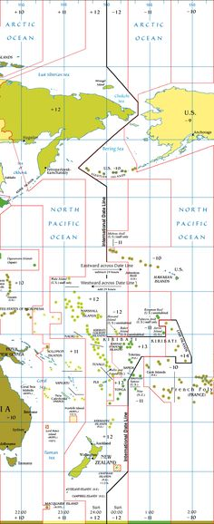 Map showing the current (post 2011) international date line. Most fascinating are the Chatham Islands at 11 3/4 hours