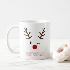 Winking Rudolf Reindeer Christmas Coffee Coffee Mug - Christmas Eve Adorable winking Rudolf the Reindeer Christmas mug. Our Christmas mugs make a great gift! Diy Christmas Mugs, Christmas Coffee, Christmas Quotes, Christmas Humor, Handmade Christmas, Christmas Decorations, Reindeer Christmas, Christmas Ornaments, Homemade Decorations