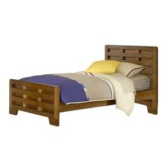 'Hardy' Interlocking Wood Slats Twin Bed