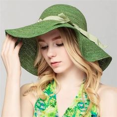 1d6d6a99a9b Green straw hat with peal bow wide brim sun hat for beach vacation. Sun Hats  For WomenFashion ...