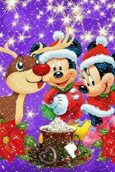 Christmas - Disney - Mickey & Minnie Mouse and Rudolph Disney Merry Christmas, Disney Christmas Decorations, Mickey Mouse Christmas, Christmas Cartoons, Mickey Mouse And Friends, Mickey Minnie Mouse, Christmas Art, Retro Disney, Disney Fun