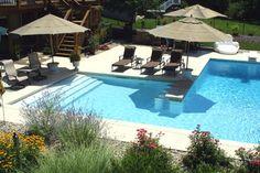 "L-Shaped Swimming Pool w/Swim-Up Bar"""