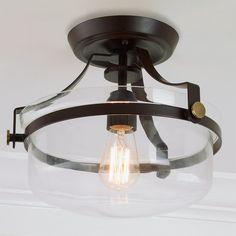Modern Metal Strap Semi-Flush Ceiling Light bronze