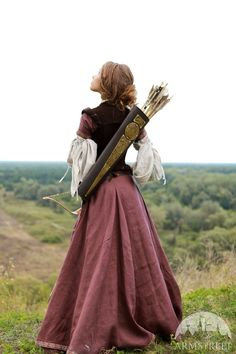 Quiver, velvet bodice, pink skirt, voluminous sleeves, LARP garb