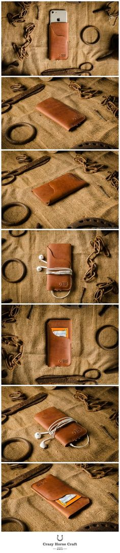 iPhone Leather Case, wallet with card holde classic orange