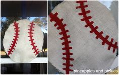 Cut two round pieces of burlap, painted it with Elmer's glue (because it makes it stiff), stuffed it with white tissue paper (for a slightly rounded look like an actual baseball), sewed the two pieces of burlap together at the edges with white thread, painted the red stitching, and hung it on the front door with a blue ribbon.  Easy peasy! And it cost less than 6 bucks to make.