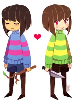 Frisk and Chara. Are thy boys? Girls? The world may nver know