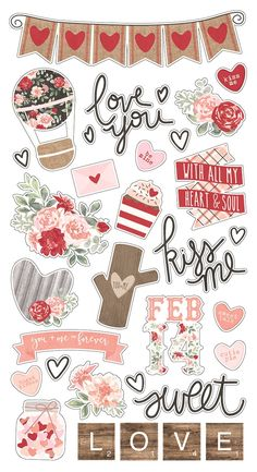 Simple Stories > Love & Adore > Chipboard Stickers - Kissing Booth - Simple Stories: A Cherry On Top Printable Planner Stickers, Journal Stickers, Scrapbook Stickers, Scrapbook Paper, Tumblr Stickers, Cute Stickers, Diy Sticker, Homemade Stickers, Bullet Journal Ideas Pages