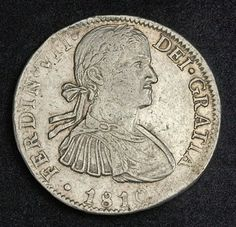 Mexico coins Spanish Colonial 8 Reales silver coin of 1810, Ferdinand VII.