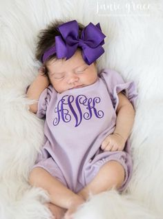 84f550aea Newborn Baby Girls Purple and Lavender Personalized Romper and Matching Headband  Outfit Set Baby Girl Purple