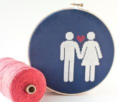 Cross stitch pattern PDF - Valentines Day - Couple in Love