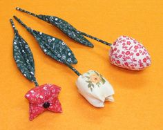 3 types of fabric tulips plus leaves and stems