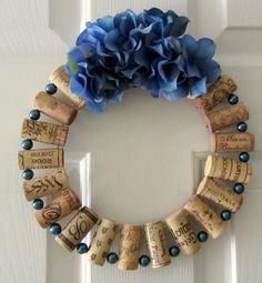 Wine Cork Wreath in Blue 9 inches in diameter  . $10.00, via Etsy.
