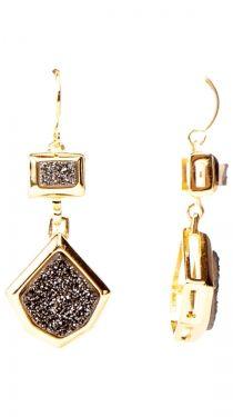 Gold Plated Square Frame Earring, Black