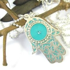 Silver Necklace  Turquoise  Hamsa  charm pendant by SigalitAlcalai, $40.00