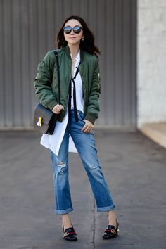 TRENDY STAPLE WITH JCPENNEY, JCPenney collaboration, Decree® Long-Sleeve Bow Shirtdress, shirtdress style, fall fashion, casual style, street style, a.n.a® Cotton-Twill Bomber Jacket, bomber jacket style, Levi's® Boyfriend Jeans, Levi's jeans, Celine box bag, Gucci peyton pearl-heel leather loafers, Gucci pearl heels, casual chic, Dior so real sunglasses