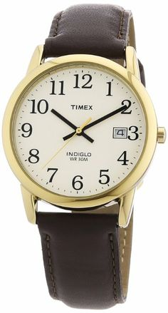 Timex Men's T2N369 Easy Reader Brown Leather Strap Watch: Watches: Amazon.com