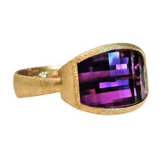 Geometric-Cut Amethyst Gold Ring | From a unique collection of vintage cocktail rings at https://www.1stdibs.com/jewelry/rings/cocktail-rings/