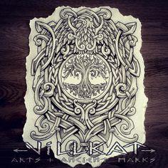 Nordic inspired design for a client, knotwork tree of life and raven to be tattooed soon :) #nordic #nordicart #Nordictattooaddicts #raven #treeoflife #viking #vikingart #villkatarts #villkattattoo #celtictattoo #celticknotwork