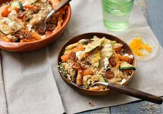 Winterse couscous met rozijnen en gegrilde groenten