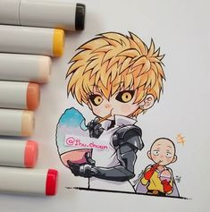 One Punch Man: Chibi Genos and Saitama One Punch Man Anime, One Punch Man Funny, Saitama One Punch Man, Copic Drawings, Kawaii Drawings, Cute Drawings, Fanarts Anime, Anime Chibi, Chibi Kawaii