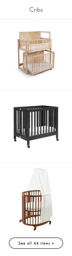 """""""Cribs"""" by chelseag-2 ❤ liked on Polyvore featuring home, children's room, children's furniture, nursery furniture, beige, baby, kids furniture cribs, white, children's bedding and baby bedding"""