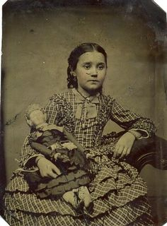 Victorian Little Girl with Her Doll Tintype CIRCA1880 1898 | eBay