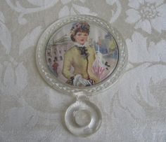 Vintage Petite Hand Mirror by VV's, Clear Plastic Small Mini Child Size, Victorian French Woman on Etsy, £6.10