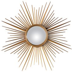 French Convex Sunburst Mirror  France  1950's  A Mid-Century convex Sunburst Mirror with a gilded metal frame. The Mirror is surrounded by a rope motif.