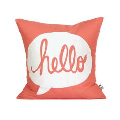 HELLO Pillow Cover // 16x16 Silk Screen Coral by michelledwight
