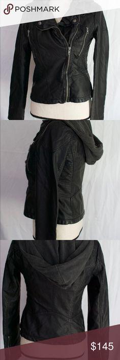 Selling this Free People Black Faux Leather Hooded Jacket 4 on Poshmark! My username is: mismel0309. #shopmycloset #poshmark #fashion #shopping #style #forsale #Free People #Jackets & Blazers