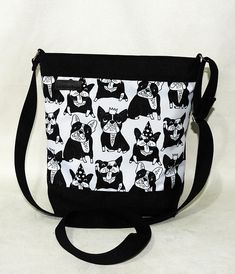 4e22733f5f495 Bag French Bulldogs / crossbody black-white bag / bulldogs pattern/  bulldogs bag / french bulldogs purse. Sploty. Torebka listonoszka ...