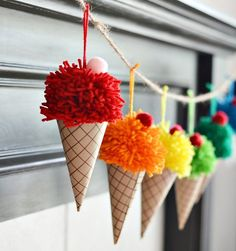 Make yarn pom poms and paper cones in to a bright and colorful DIY ice cream con. - Make yarn pom poms and paper cones in to a bright and colorful DIY ice cream cone garland. Cute Crafts, Kids Crafts, Diy And Crafts, Paper Crafts, Kids Diy, Creative Ideas For Kids, Craft Ideas For Adults, Diy Party Crafts, Art And Craft