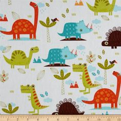 Riley Blake Home Decor Dinosaur Cream from @fabricdotcom  Screen printed on lightweight cotton duck, this versatile fabric is designed by RBD Designers for Riley Blake Designs. Perfect for window accents (draperies, valances, curtains and swags), accent pillows, duvet covers and some upholstery projects. Create handbags, tote bags, aprons and more. Colors include shades of aqua, brown, orange, green, and white.
