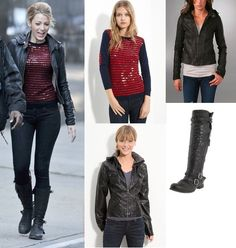 On Serena: Gryphon Stripe Sequin Sweater, Mike and Chris Gilly Hooded Jacket