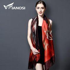 17bd036e480e  Vianosi  Silk Scarf Luxury Brand Hijab Fashion Foulard Femme Bandana Print Scarf  Women Blanket