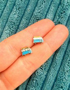 Kombi camper van earrings handmade tiny VW van by HandcraftLab