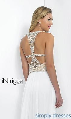 Shop white evening gowns and beaded ball gowns at Simply Dresses. High-neck white pageant dresses and beaded formal gowns for prom.