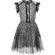 Elie Saab Beaded Embroidered Tulle Dress ($7,100) ❤ liked on Polyvore featuring dresses, vestidos, elie saab, black, cut-out dresses, embroidered dress, sequin embellished dress, sequin tulle dress and round neck dress